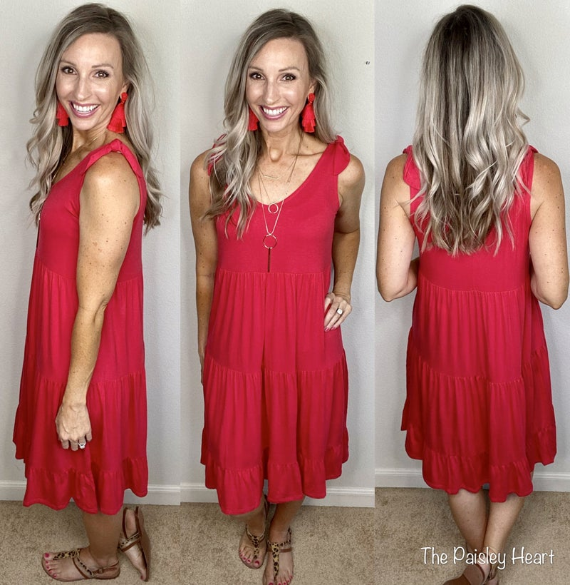 Solid Tiered Dress with Shoulder Details
