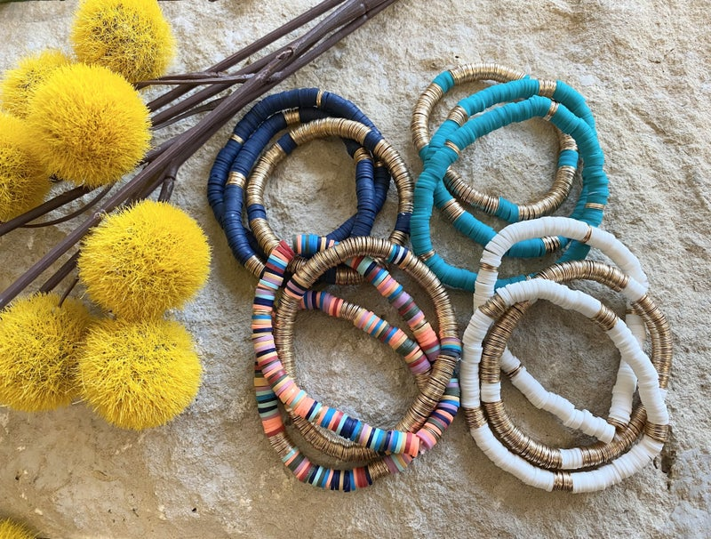 Vibrant 3 Piece Disc Bead Bracelet Set