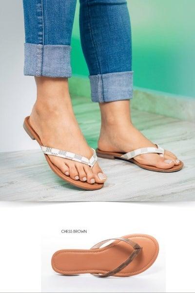 Designer Inspired Flip Flop Sandals: 2 Colors