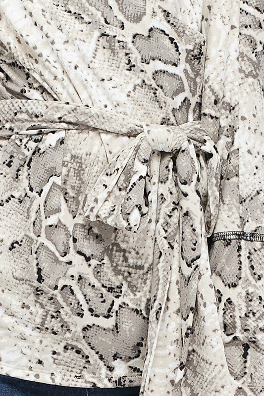 City Chic Snakeprint Surplice Top - BLACK FRIDAY SALE