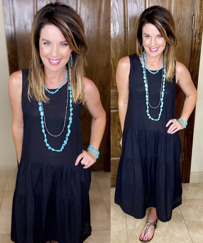 Sleeveless Tier Maxi Dress with Back Keyhole