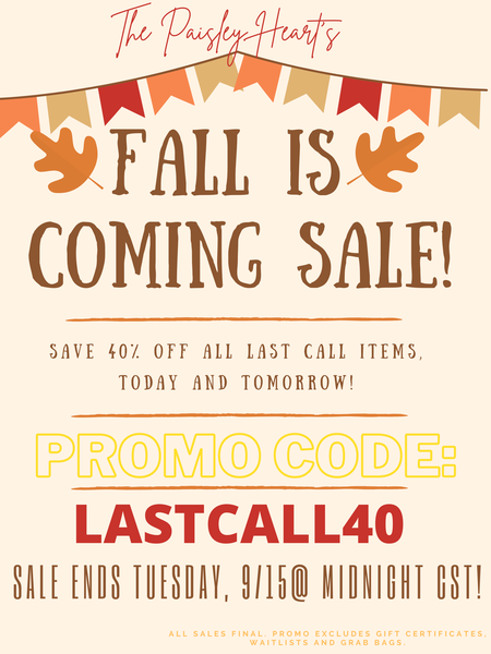 Fall Is Coming SALE!!