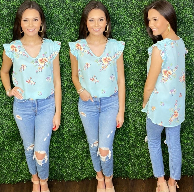 Charming In Floral Top