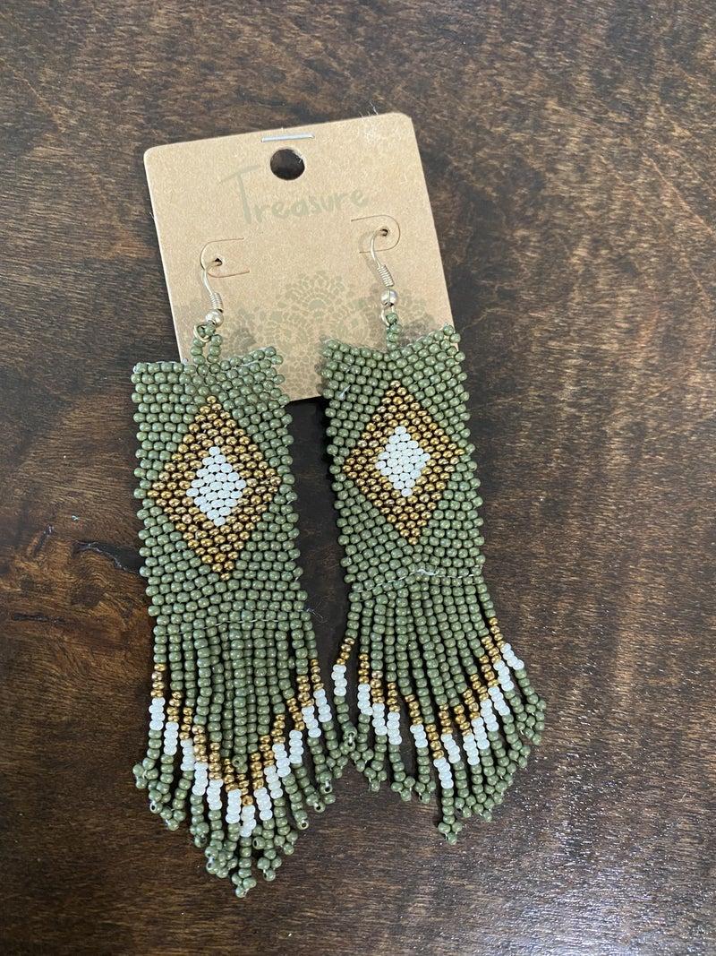 Olive Aztec Tassel Seed Bead Earrings