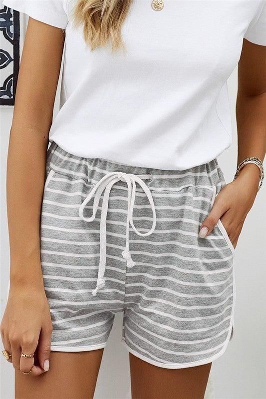 Striped Cotton Blend Pocketed Shorts - LMTD FIRST SHIMPMENT