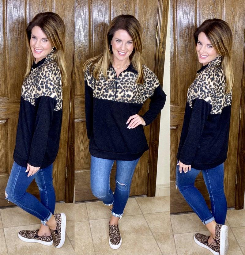 Fleece Soft Leopard Half Zip Pullover