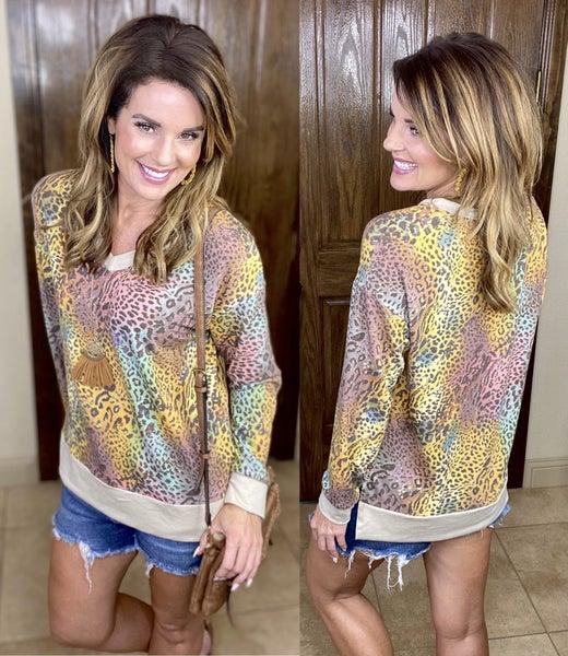 Multi Cheetah Knit Pullover