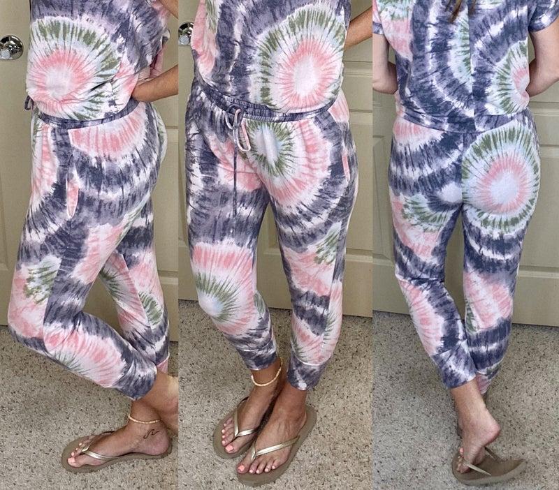 Tie Dye Print Knit Joggers