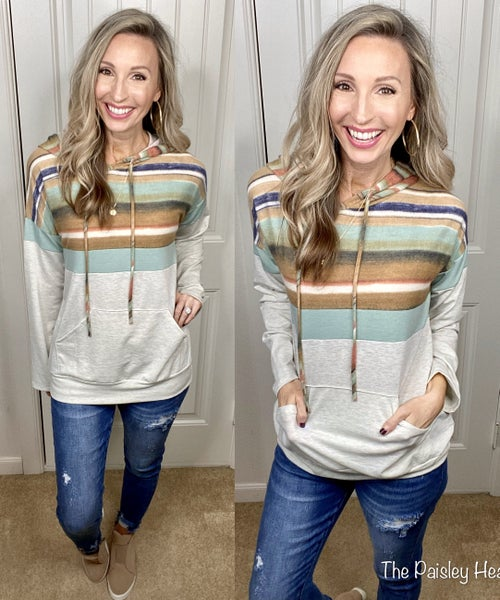 Fall Abstract Stripes Hooodie Pullover