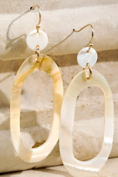 Beachy Oval Shell Drop Earrings
