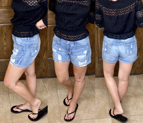 Vintage Faded and Distressed Denim Shorts