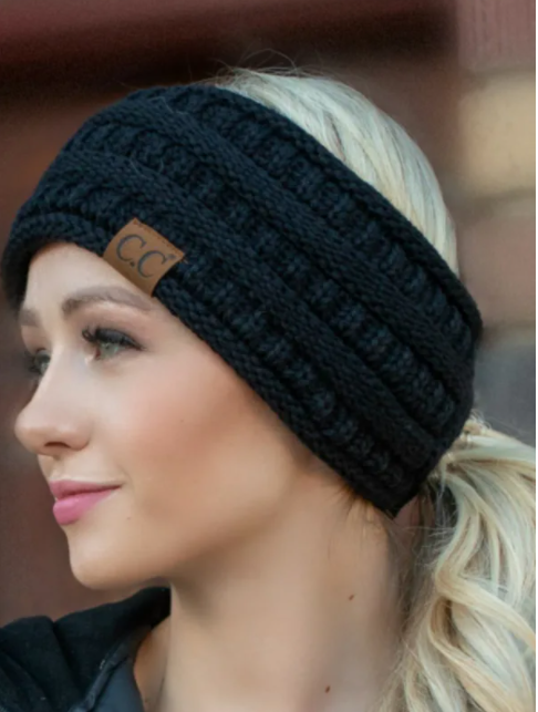 Lined Ear Warmer Head Band with Pony Tail Option - Black