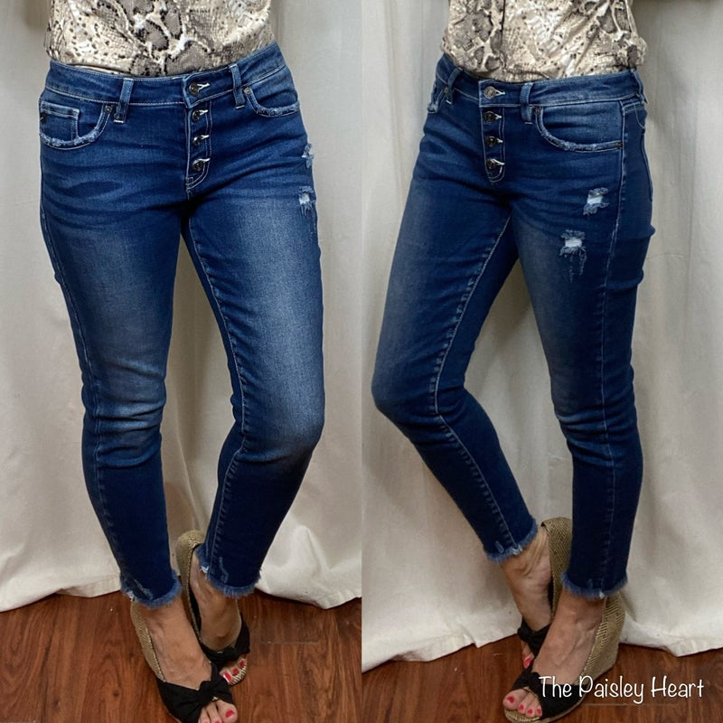 KanCan Mid Rise Button Fly Ankle Skinny Denim