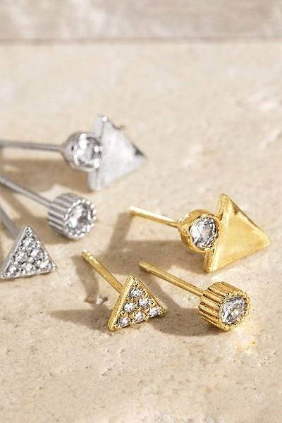 Brass Metal Rhinestone Earrings