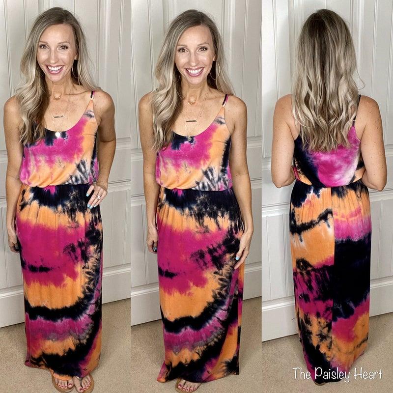 Rina Tie Dye Strappy Maxi Dress