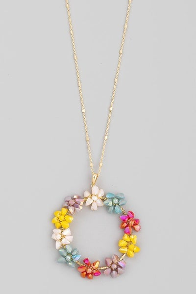 Glass Beaded Circle Flower Pendant Necklace
