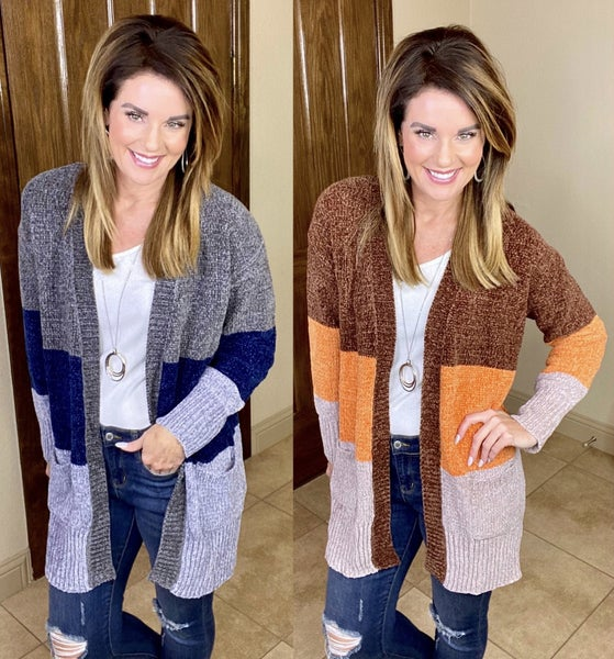 Cozy Chenille Colorblock Cardigan