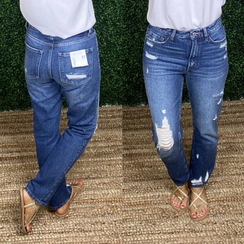 High Waisted Distressed Straight Leg Denim