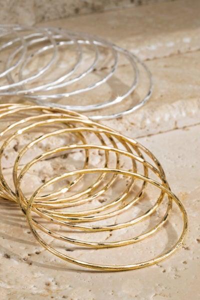 Hammered Metal Bracelet Set