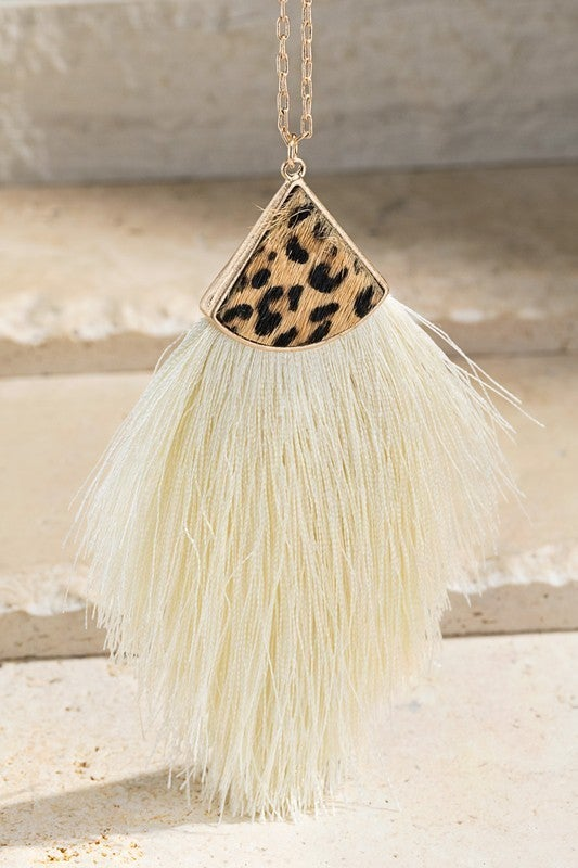 Fine Thread Cheetah Tassel Necklace