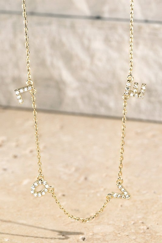 Pave Crystal LOVE Letter Pendant Necklace