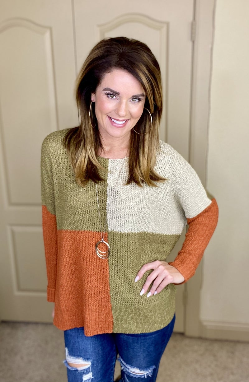 Color Blocked Lightweight Boxy Sweater
