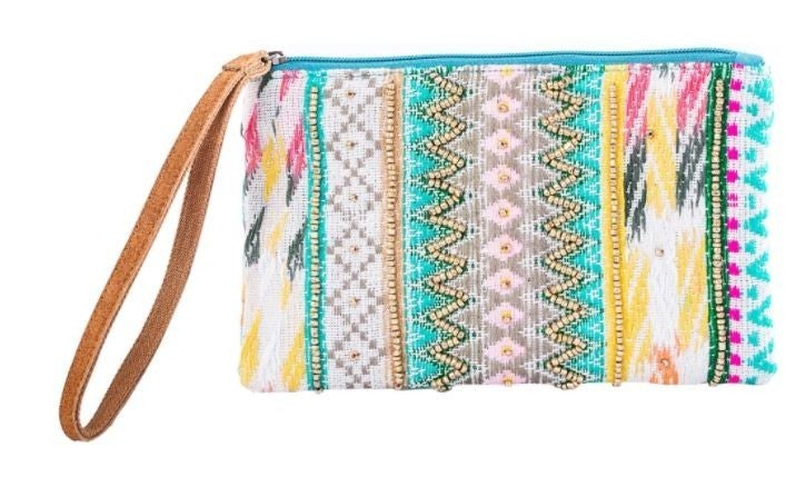 Boho Colorful Wristlet with Leather Strap