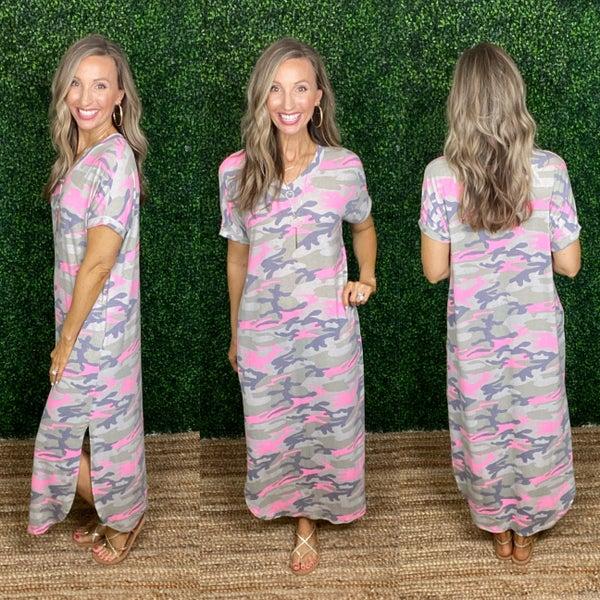 Caroline Camo Maxi Dress