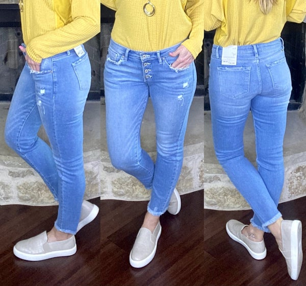 Kan Can Mid Rise Ankle Skinny Denim
