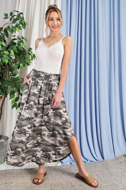 Smock Waist Camo Skirt