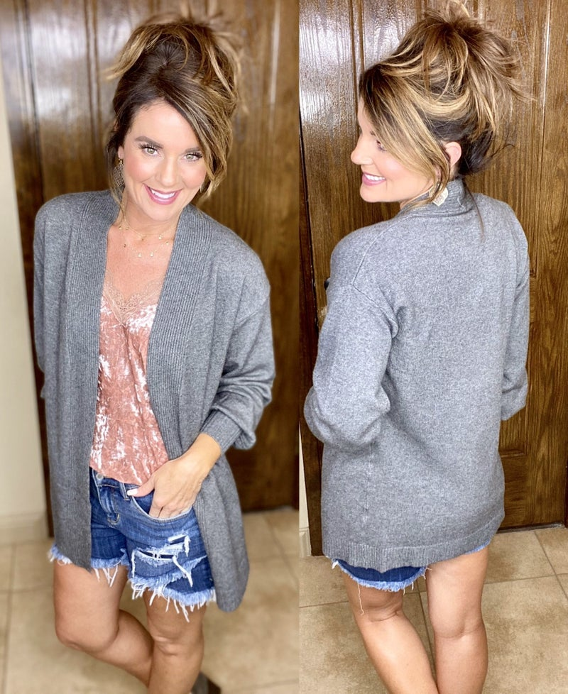 Dreamers Balloon Sleeve Open Front Cardigan - LIMITED