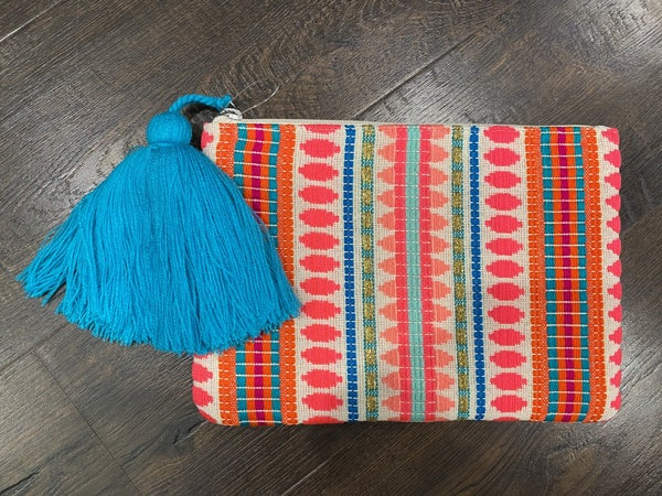 Vibrant Pocketbook/Cluth with Tassel Zipper - LIMITED!!