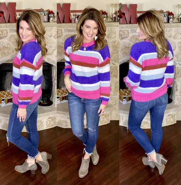 Cozy For Spring Striped Sweater