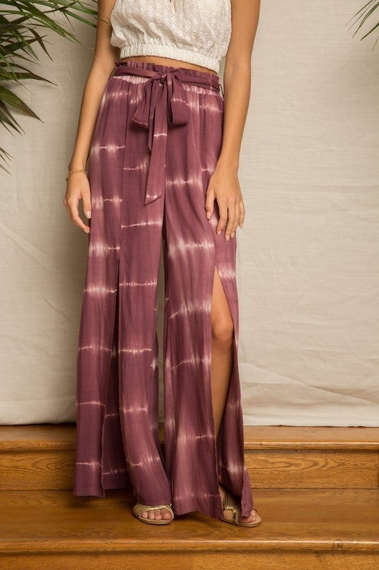 Tie Dye Front Slit Relaxed Waist Pants
