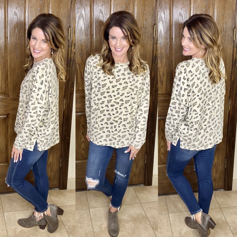 Leopard Print Oversized Relaxed LS Top
