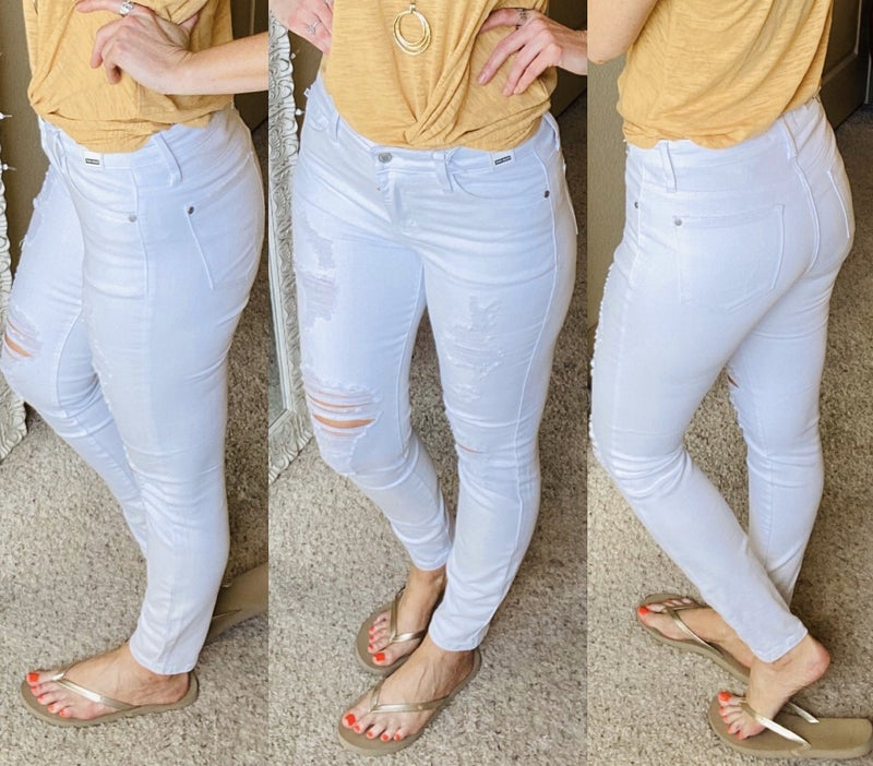 Judy Blue White Ankle Distressed Denim