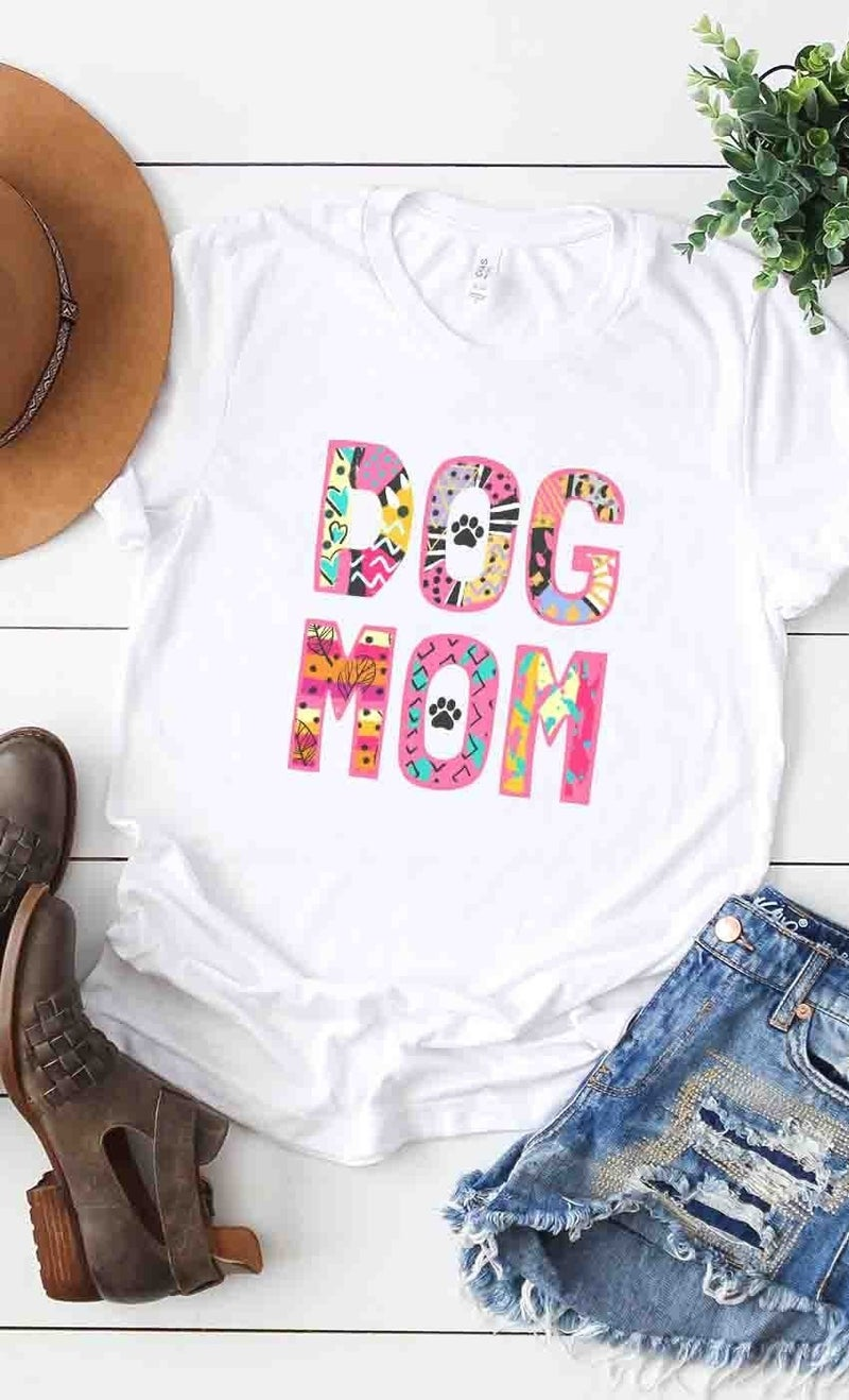 Dog Mom Colorful Graphic Tee