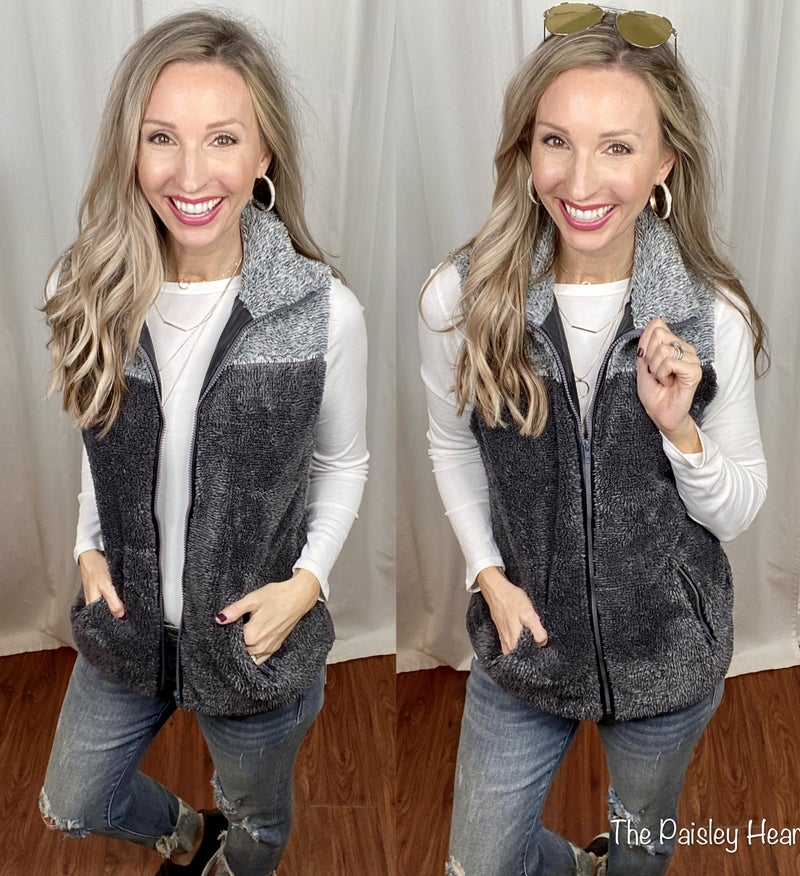 Two Toned Faux Sherpa Vest with Zipper Pocket - LMTD FIRST SHIPMENT!
