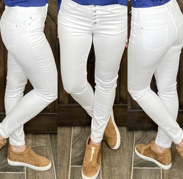 Judy Blue Button Fly White Skinnies
