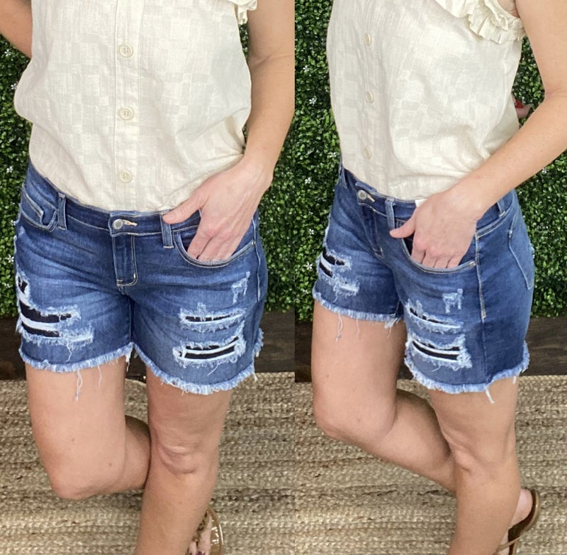 Judy Blue Mid Rise Patch Cut Off Shorts