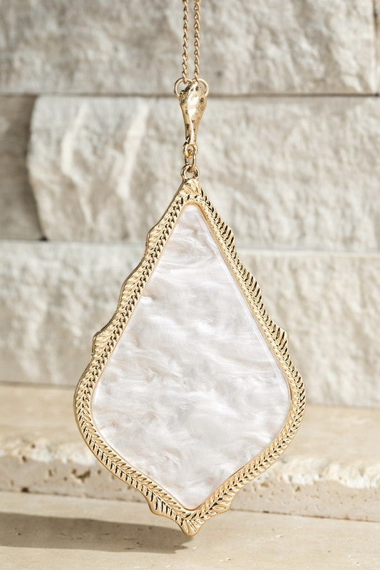 Designer Inspired Marbled Teardrop Necklace