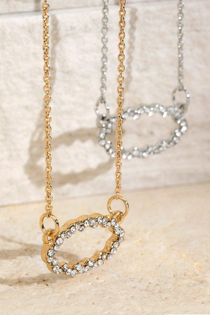 Designer Inspired Pave Crystals Pendant Necklace
