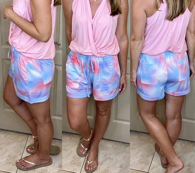 Tie Dye Casual Pocket Shorts