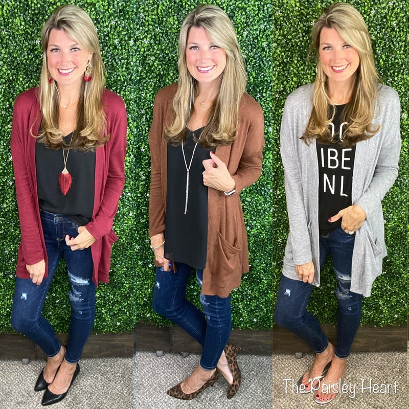 Essential Long Sleeve Open Front Pocket Cardigan