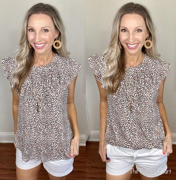 Ruffle Trim Cheetah Print Knit Top