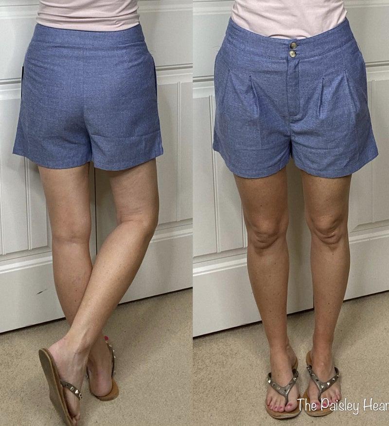 Chambray High Waisted Shorts