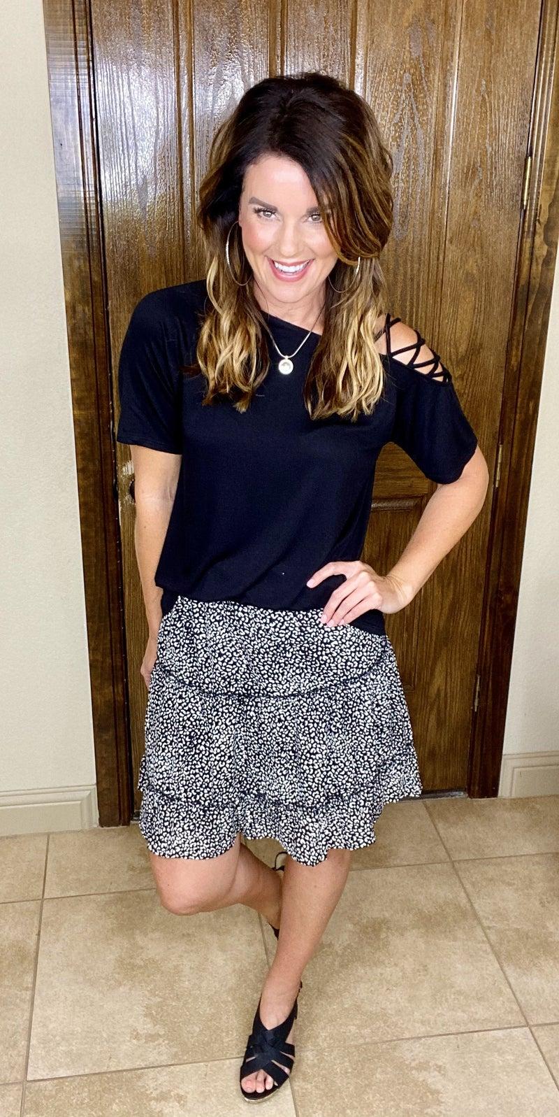 Tiered Animal Print Skirt