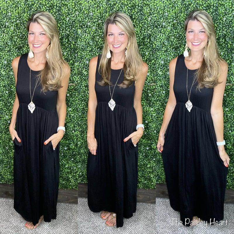 Put it to the Test Black Sleeveless Maxi Dress
