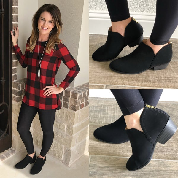 Women Cut Stack Ankle Booties