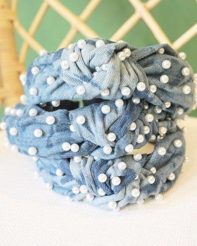Denim Tie Dye Pearl Top Knot Headband